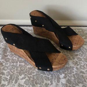 Black and Cork platform sandals